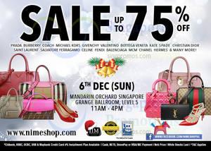 Featured image for Nimeshop Branded Handbags Sale @ Mandarin Orchard 6 Dec 2015