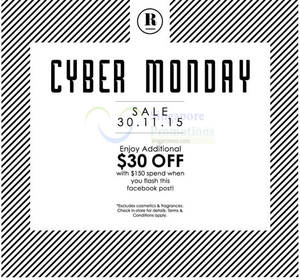 Featured image for Robinsons $30 Off w/ Spend $150 Cyber Monday Promo 30 Nov 2015