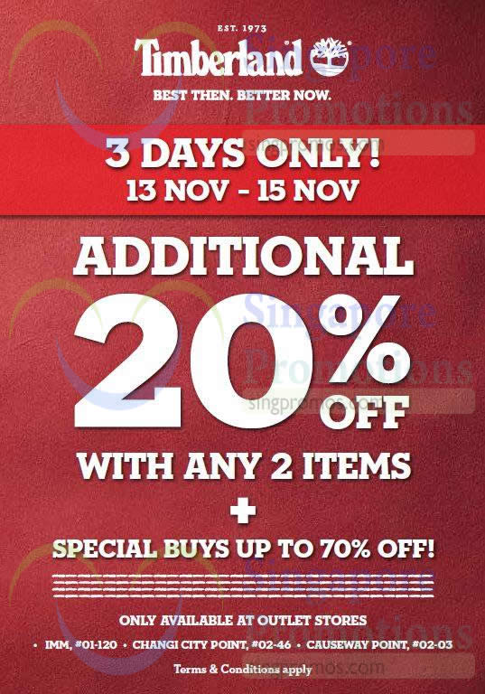 Timberland 20% Off With 2 Items @ Outlet Stores 13 – 15 Nov 2015