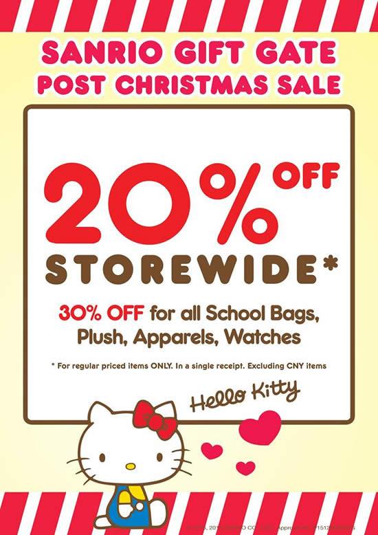 Sanrio Gift Gate 20% Off Storewide Promotion 28 Dec 2015 – 3 Jan 2016 049159fd58
