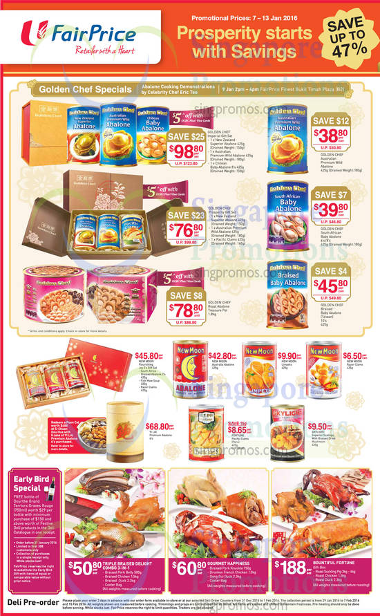 Abalones Golden Chef Specials, New Moon, Skylight, Yi Lai, Fortune