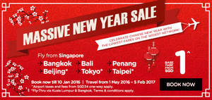 Featured image for Air Asia fr $1 Promo Fares 4 – 10 Jan 2016