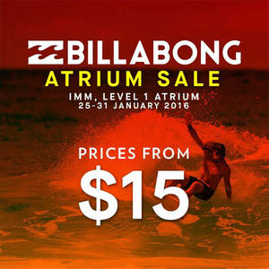 Featured image for Billabong Great Sale @ IMM 25 – 31 Jan 2016