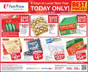 Featured image for Fairprice 1-Day CNY Deals (Ferrero Rocher, Milo, Brand's & More) 31 Jan 2016