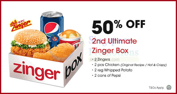 KFC Delivery 50% Off 2nd Ultimate Zinger Box Promo Code ...