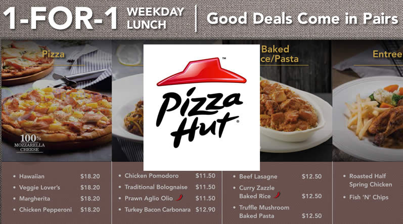 Pizza Hut 1 For 1 Lunch Dining Deals Weekdays 13 29