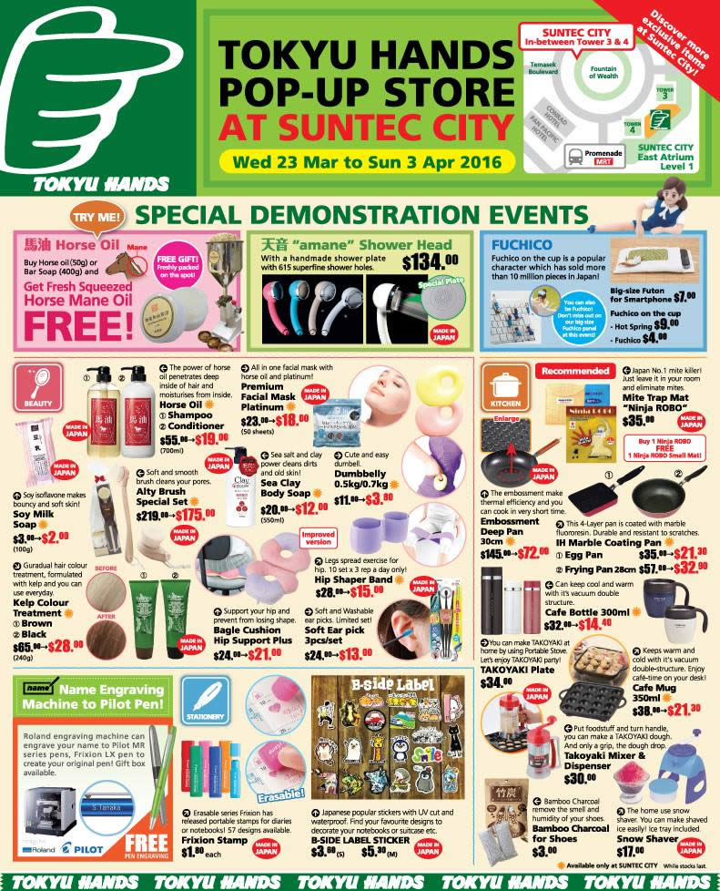 23 Mar Tokyu Hands Popup Store Offers, Demonstration Events