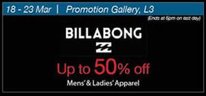 Featured image for Billabong Up To 50% Off @ Shaw House 18 – 23 Mar 2016