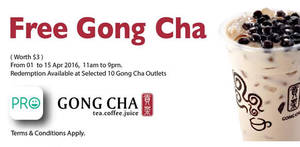 Featured image for Gong Cha Free Drink Giveaway @ 10 Outlets 1 – 15 Apr 2016
