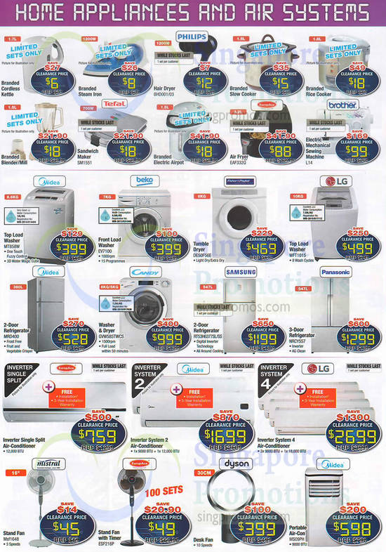 Home Appliances, Washers, Air Condiitoners, Fans