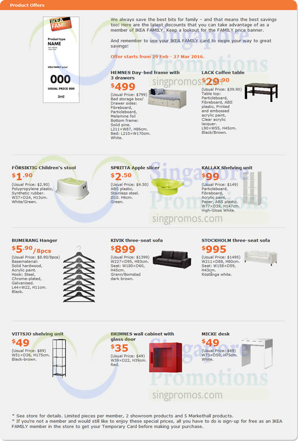 IKEA Promo Offers (Updated 3 Mar) 29 Feb – 27 Mar 2016