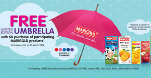 Featured image for Marigold Free Umbrella w/ $8 Purchase of Participating Products 15 – 31 Mar 2016