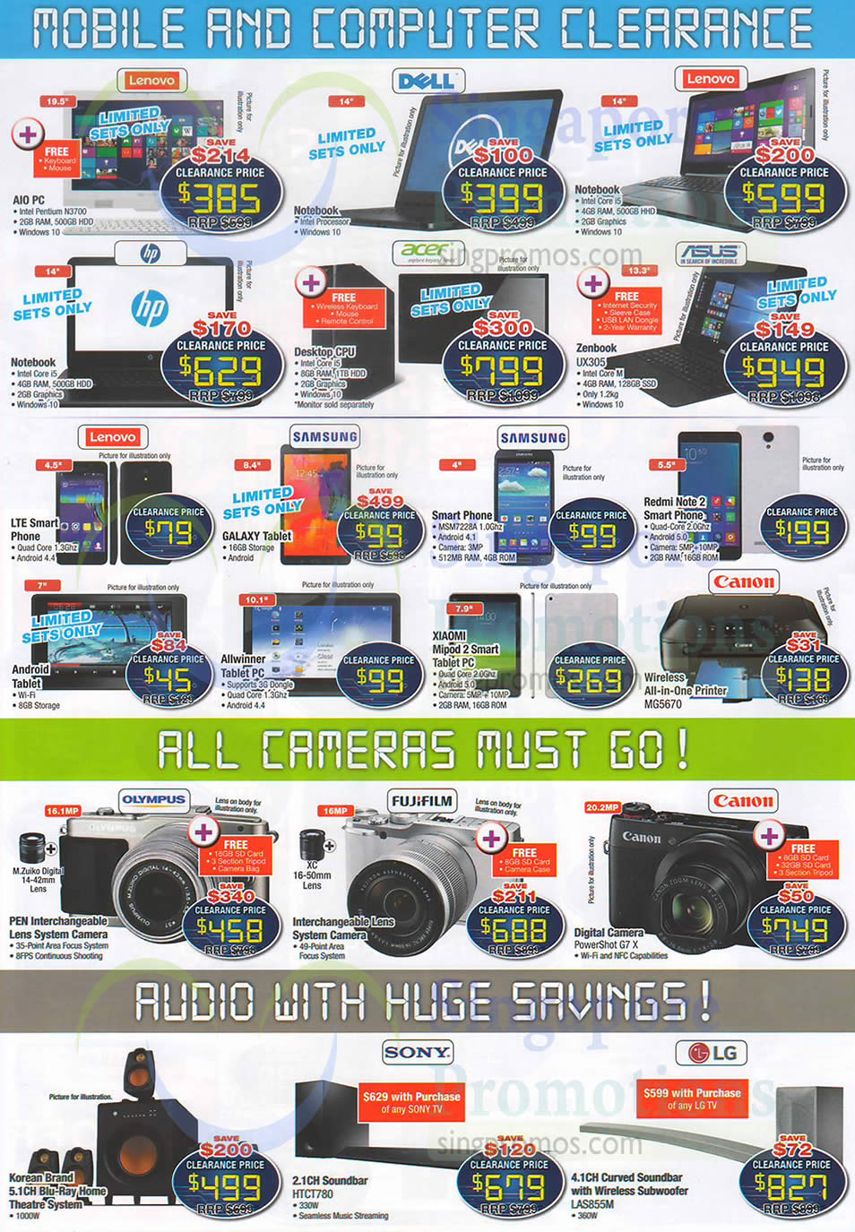 Mobile Phones, Notebooks, Cameras, Speakers, Home Theatre Systems