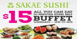 Featured image for Sakae Sushi $15 All-You-Can-Eat Buffet @ 21 Outlets From 7 Mar 2016