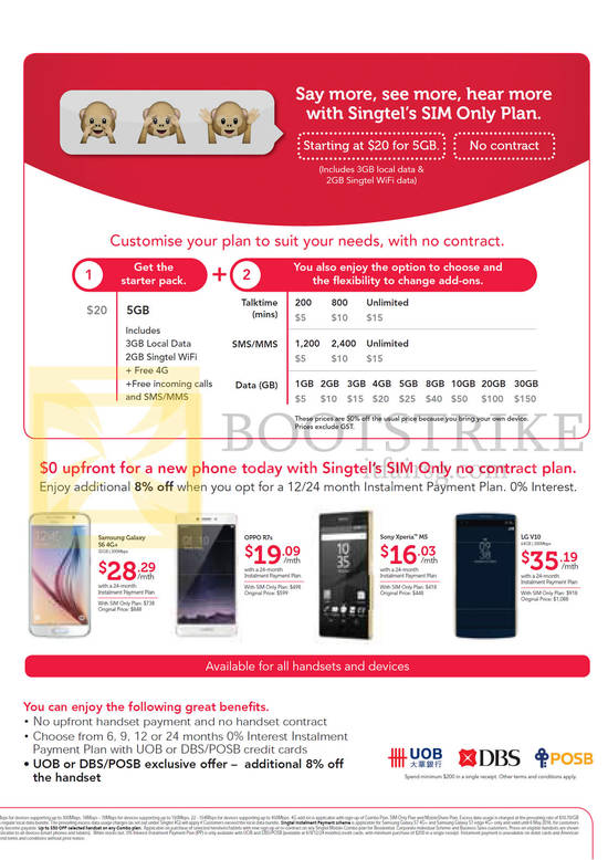 Sim Only Plan, Mobile Phones, Starter Pack, Samsung Galaxy S6, Oppo R7s, Sony Xperia M5, LG V10