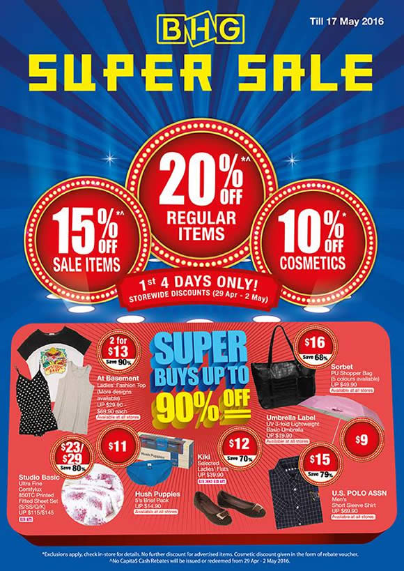 Bhg 20 Off Storewide Super Sale From 29 Apr 2 May 2016