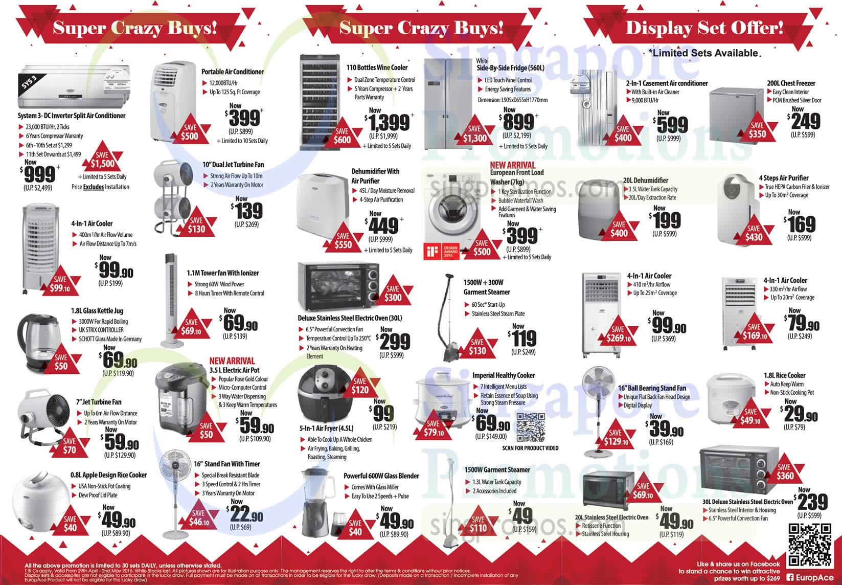 Crazy Buys, Display Sets, Air Condiitoner, Fan, Kettle, Purifier, Air Pot, Air Fryer