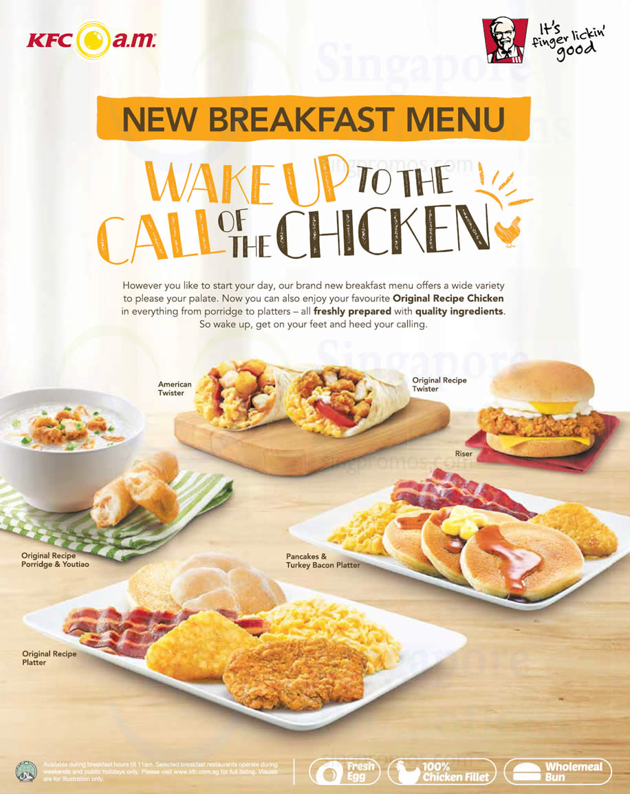KFC New Breakfast Menu From 6 Apr 2016