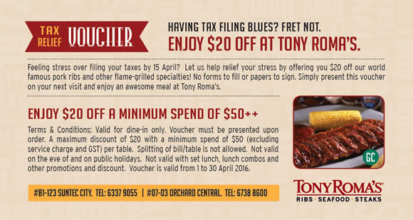 Tony roma's coupons