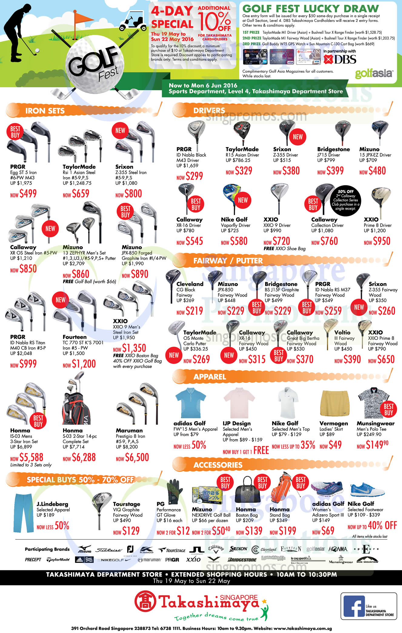 19 May Special Buys, Iron Sets, Drivers, Fairway, Putter, Accessories