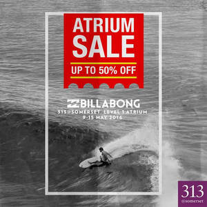 Featured image for Billabong Atrium Sale at 313 Somerset from 9 – 15 May 2016