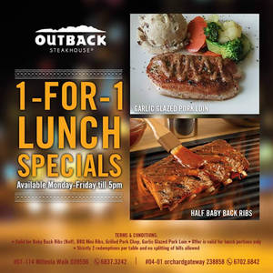 Featured image for Outback Steakhouse 1-for-1 Lunch Weekday Specials From 11 May 2016