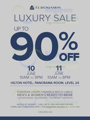 50f3e4245d338 FJ Benjamin up to 90% off Luxury Sale at Hilton Hotel from 10 – 11 Jun  2016. List of La Senza ...