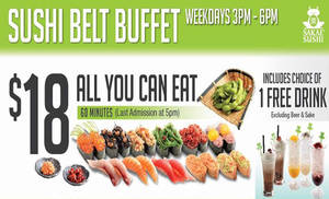 Featured image for Sakae Sushi: $18 All-You-Can-Eat Sushi Belt Buffet at 28 Outlets from 28 Jun 2016