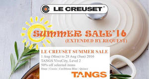 Featured image for Le Creuset: 50% Off Selected Items at Tangs Vivocity from 1 – 28 Aug 2016