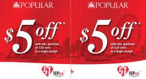 Featured image for POPULAR: $5 off $30 nett Spend Coupon from 15 Jul – 30 Sep 2016
