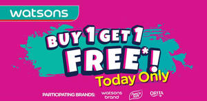 Watsons: Buy-1-Get-1-Free (1 FOR 1) on selected Watsons Brand, Pure'n Soft & Orita products on 16 Oct 2019