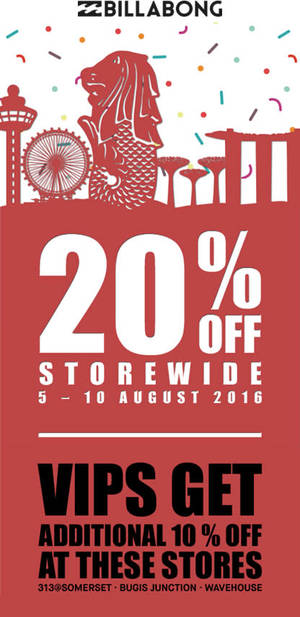 Featured image for Billabong: 20% Off Storewide from 5 – 10 Aug 2016