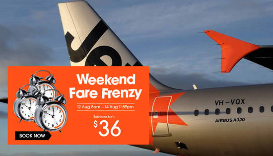 Jetstar Fare Frenzy 12 Aug 2016