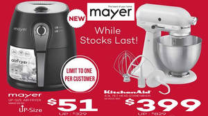 Mayer: Air Fryer At $51 (U.P. $329) U0026 KitchenAid Mixer At $399 (U.P. $829)  Deal On 9 Aug 2016 UPDATED 11 Aug 2016