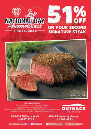 Featured image for Outback Steakhouse: 51% off Second Signature Steak from 8 Aug 2016