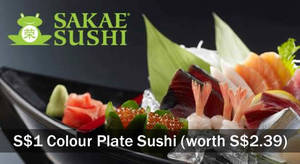 Featured image for Sakae Sushi: S$1 Colour Plate Sushi (worth S$2.39) for UOB Cardmembers from 8 – 12 Aug 2016