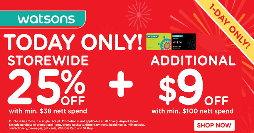 Watsons  25% Off Storewide for Members ( 5 Lifetime Membership) on 3 Aug  2016 244fcbd64a