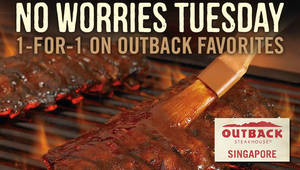 Featured image for Outback Steakhouse: 1-for-1 Outback Favourites on Tuesdays from 27 Sep – 25 Oct 2016