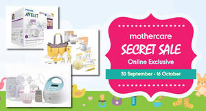 Featured image for mothercare: Secret Sale – Up to 50% Off from 30 Sep – 16 Oct 2016