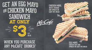 McDonald's McCafe: $3 Egg Mayo or Chicken Mayo Sandwich w/ Any Drink Purchase from 17 – 31 Oct 2016