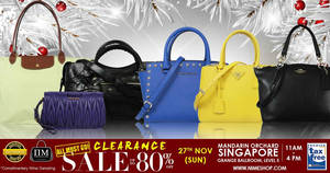 Featured image for Nimeshop branded handbags sale offers up to 80% off at Mandarin Orchard on 27 Nov 2016