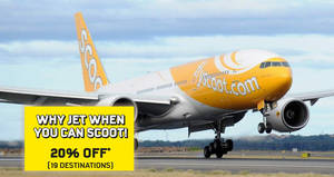 Featured image for Save 20% off selected Scoot fares with this promo code valid today only on 30 Nov 2016