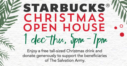 starbucks christmas open house returns enjoy a free tall sized christmas beverage from 5pm to 7pm on 1 dec 2016