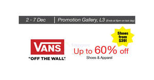 Featured image for Vans Off The Wall shoes & apparel going at up to 60% off at Isetan Scotts from 2 – 7 Dec 2016
