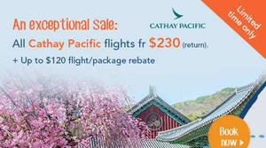 Featured image for Zuji FLASH sale to all Cathay Pacific destinations featuring fares fr $230 return at Zuji from 30 Nov – 6 Dec 2016