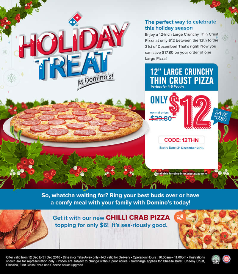 Domino S Pizza Offers Large Crunchy Thin Crust Pizza For