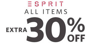 Esprit FLASH sale: 30% OFF regular-priced & sale items promo online from 20 May 8pm – 21 May 2019, 10am