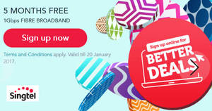 Featured image for Sign-up Singtel 1Gbps fibre broadband & enjoy 5 months free from 31 Dec 2016 – 20 Jan 2017