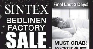 Featured image for Sintex bedlinen factory sale with prices starting from $5 onwards from 31 Dec 2016 – 2 Jan 2017