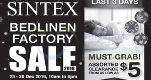 Featured image for Sintex bedlinen factory sale with prices starting from $5 onwards from 23 – 26 Dec 2016